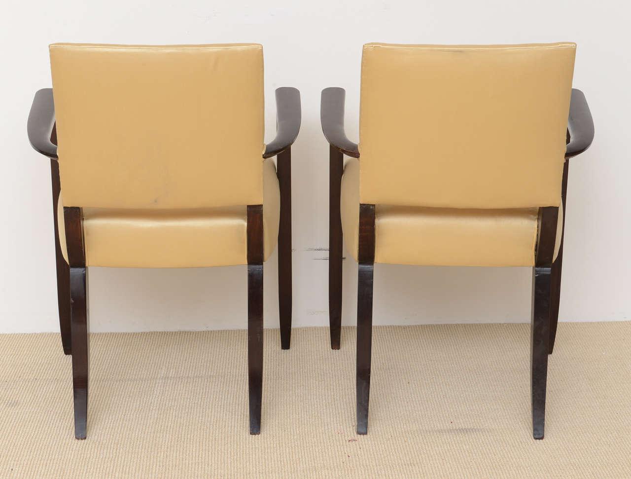 Pair of French Late Art Deco Ebony De Macassar Armchairs ...