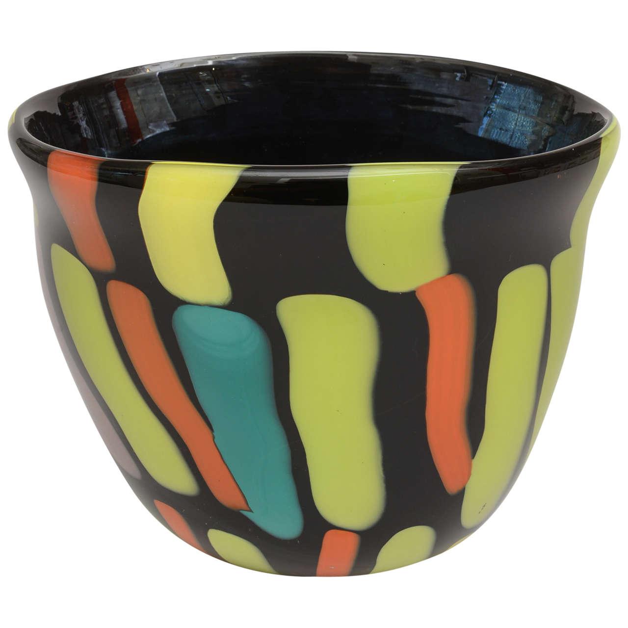 Signed Italian Murano Fratelli Pagnin Glass Vase or Vessel