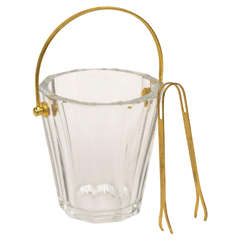 Mini Signed Baccarat Crystal and Brass Butler Ice Bucket or Champagne Cooler