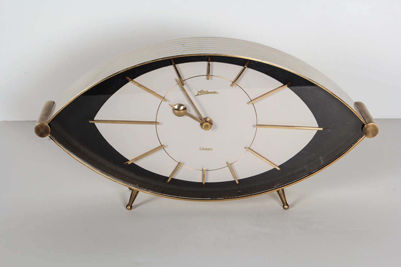 Modernist German Quot 4 Jewels Quot Clock By Mauthe At 1stdibs