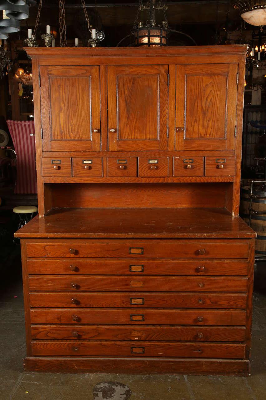 antique original oak map cabinet at 1stdibs