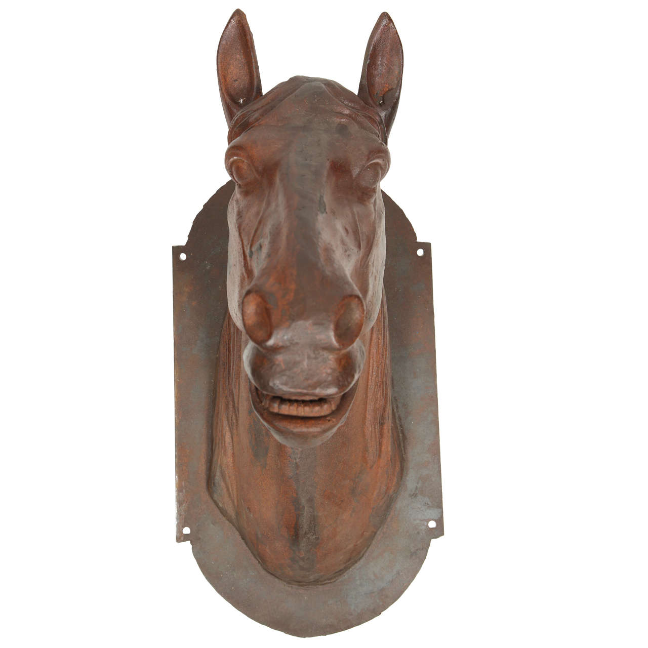 Handsome Cast Iron Horse Head At 1stdibs