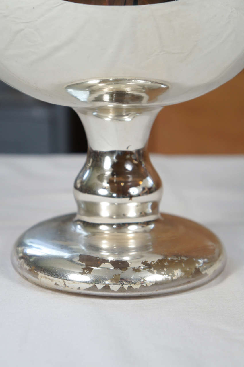 19th Century Large Mercury Glass Footed Bowl For Sale