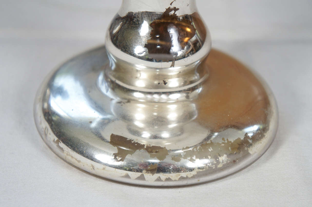 Large Mercury Glass Footed Bowl For Sale 1