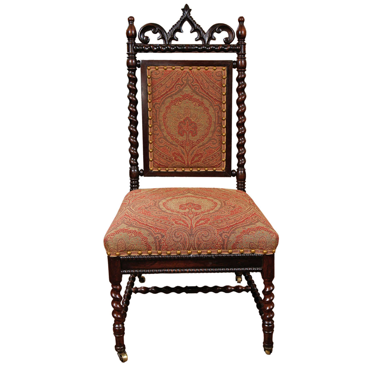 Gothic Revival Walnut Side Chair on Casters