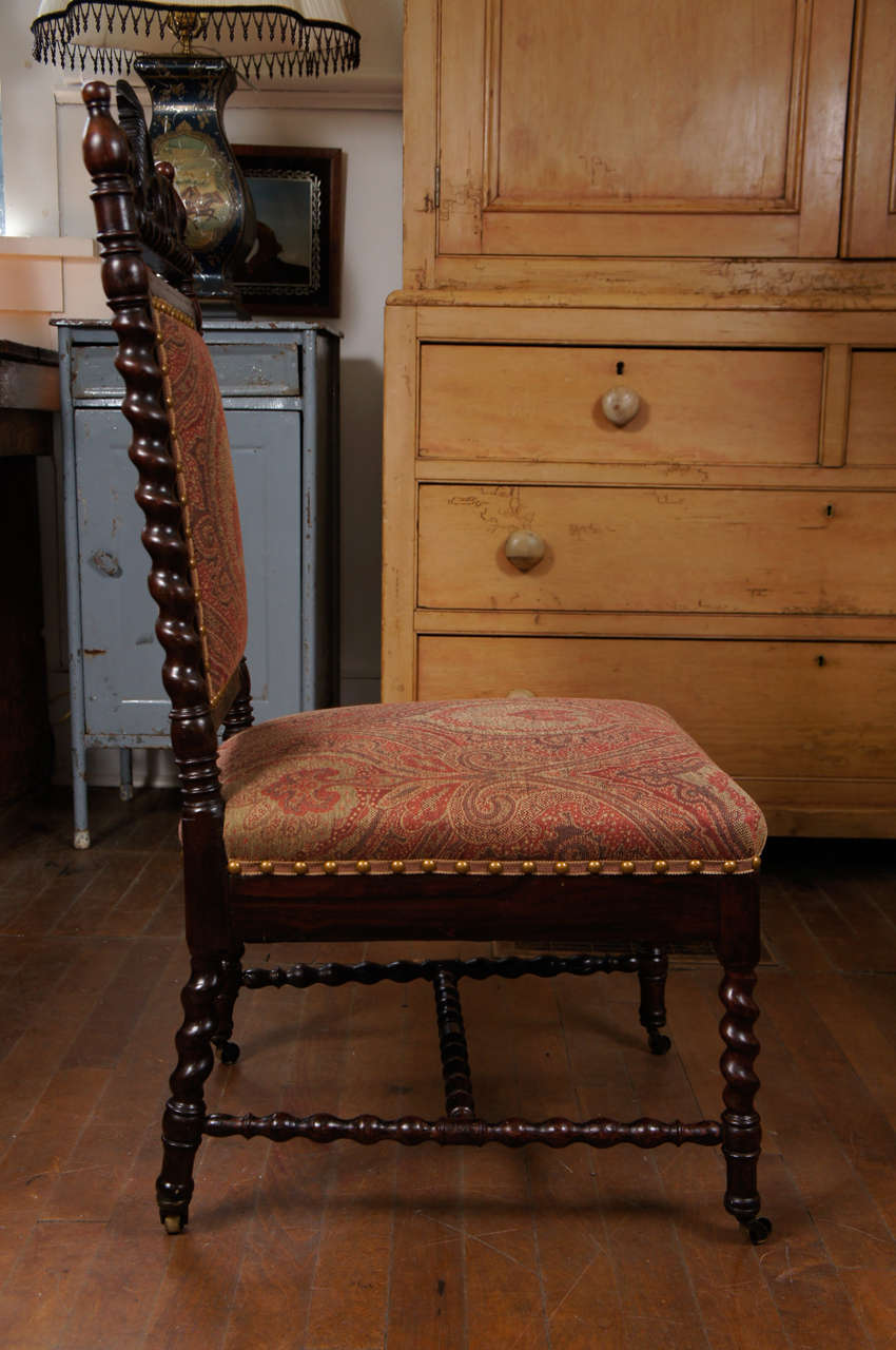 Gothic Revival Walnut Side Chair on Casters In Excellent Condition For Sale In Hudson, NY