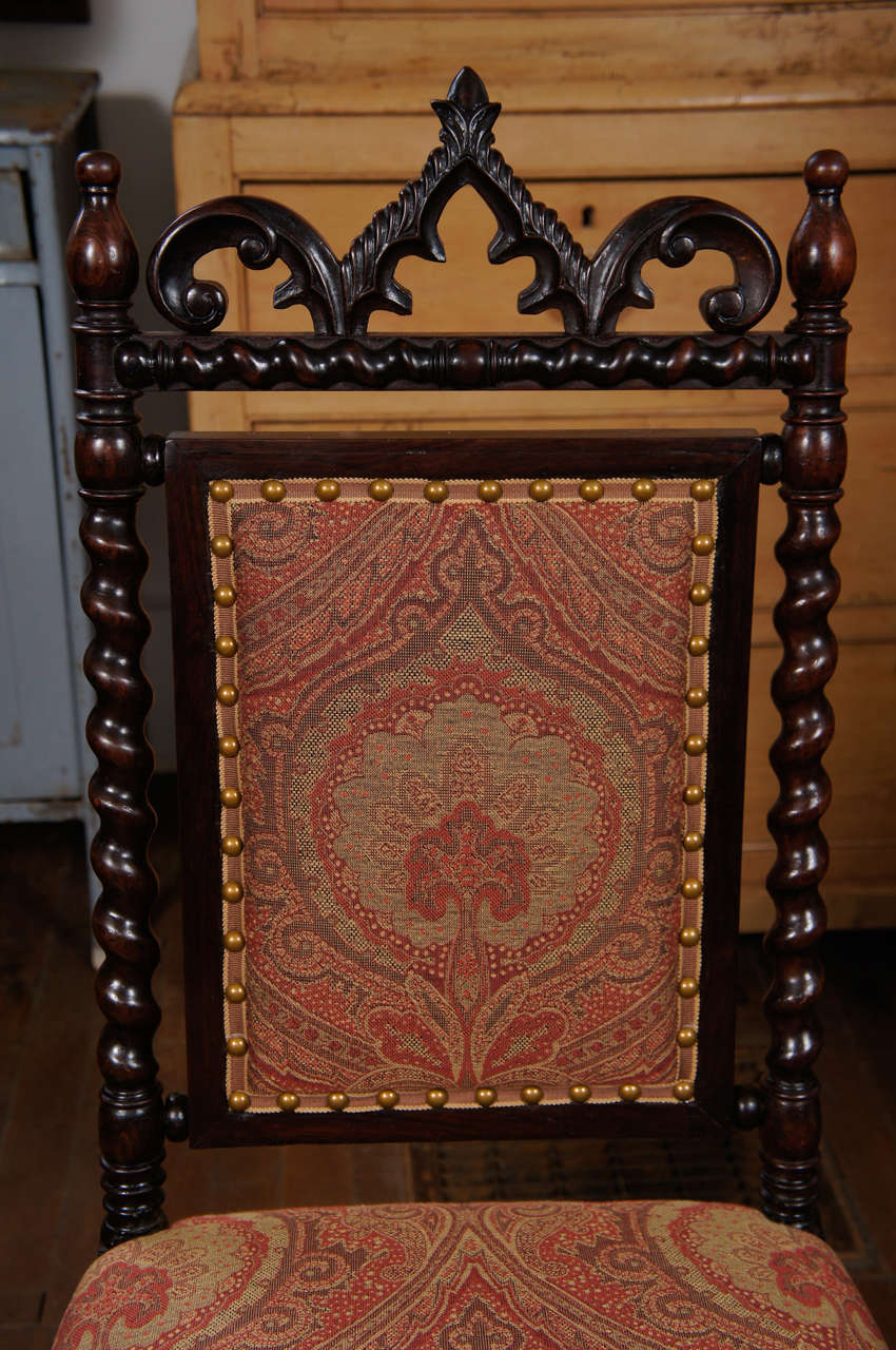 Trimming Gothic Revival Walnut Side Chair on Casters For Sale