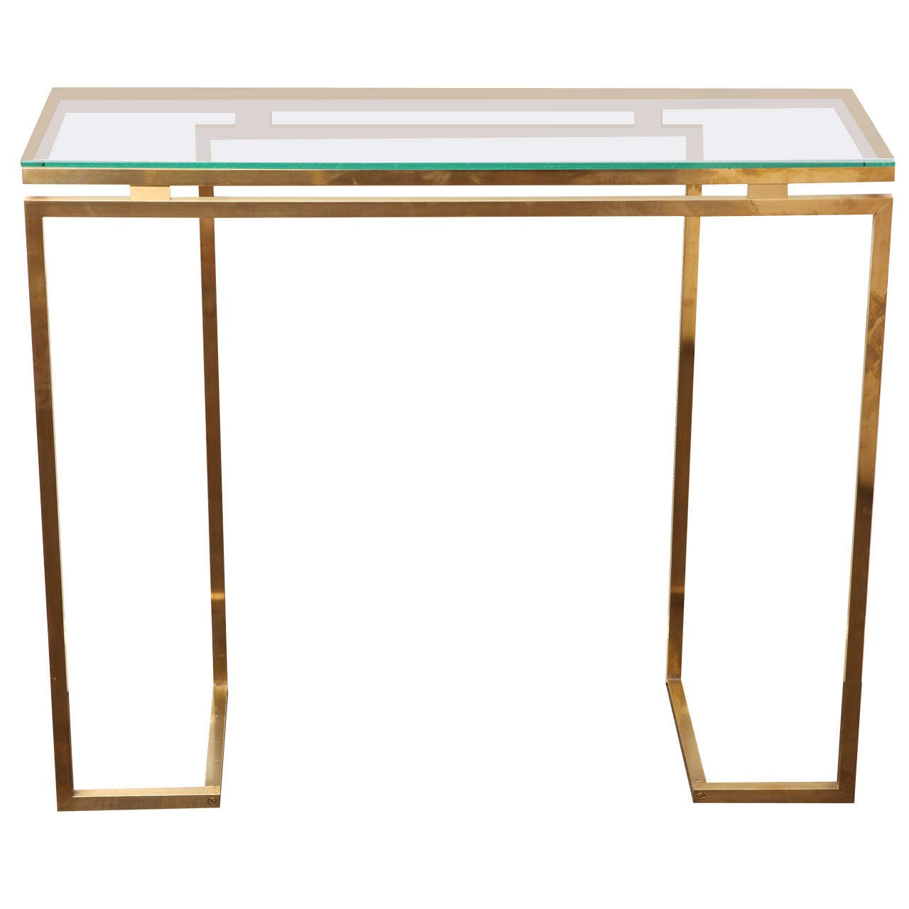 A Geometric Brass And Glass Topped Console Table France C