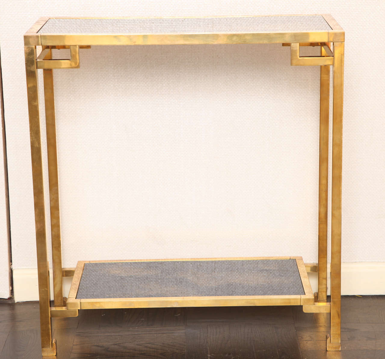 A Small Geometric Two Tier Brass And Antique Glass Console Table At 1stdibs