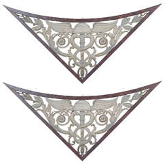 Pair of 19th Century Architectural Wall Hangings in Painted Finish