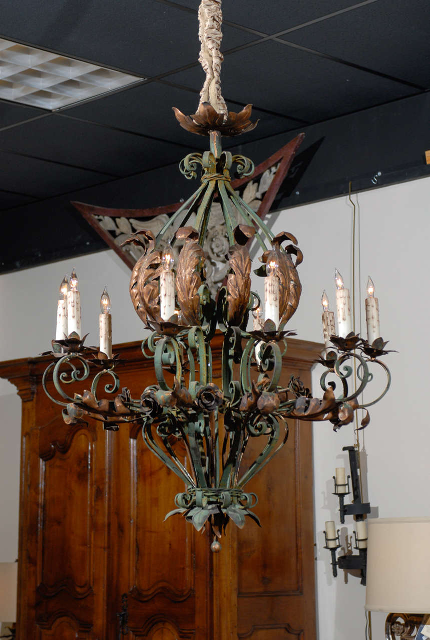 A Rococo style green painted iron chandelier with 10 lights and gilt tole  acanthus leaf &amp - Large French Rococo Green Painted Iron And Gilt Tole Chandelier For