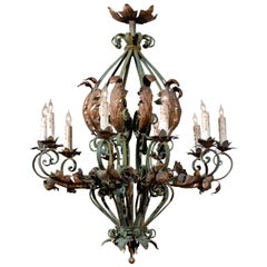 Large French Rococo Green Painted Iron and Gilt Tole Chandelier
