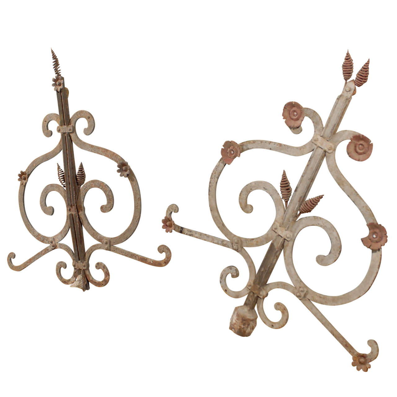 Pair of 19th Century French Painted Iron Garden Elements