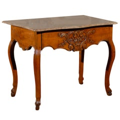 French Louis XV Walnut Console with Marble Top