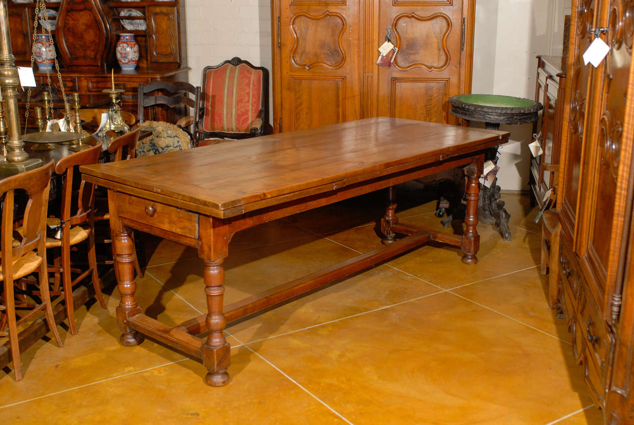 19th Century French Fruitwood Farm Table With Pull Out