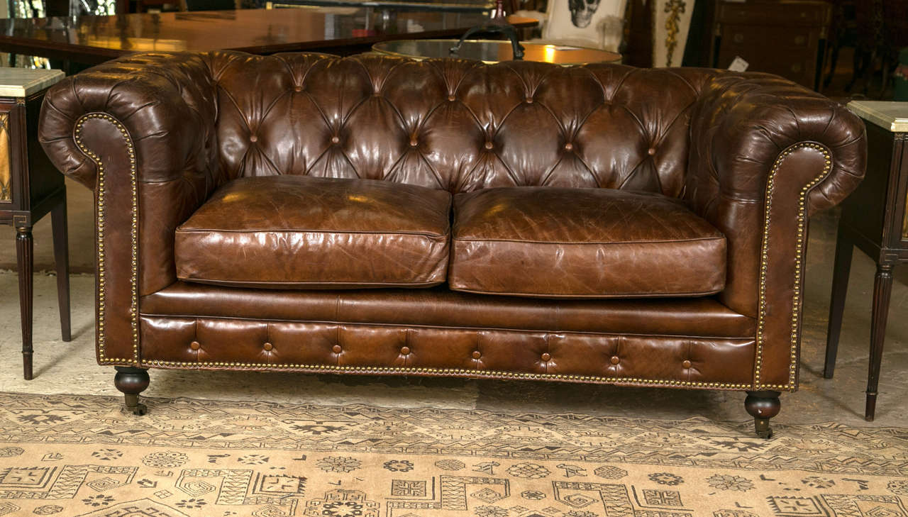 Sensational Pair Of English Georgian Style Chesterfield Sofa Settees At Gmtry Best Dining Table And Chair Ideas Images Gmtryco
