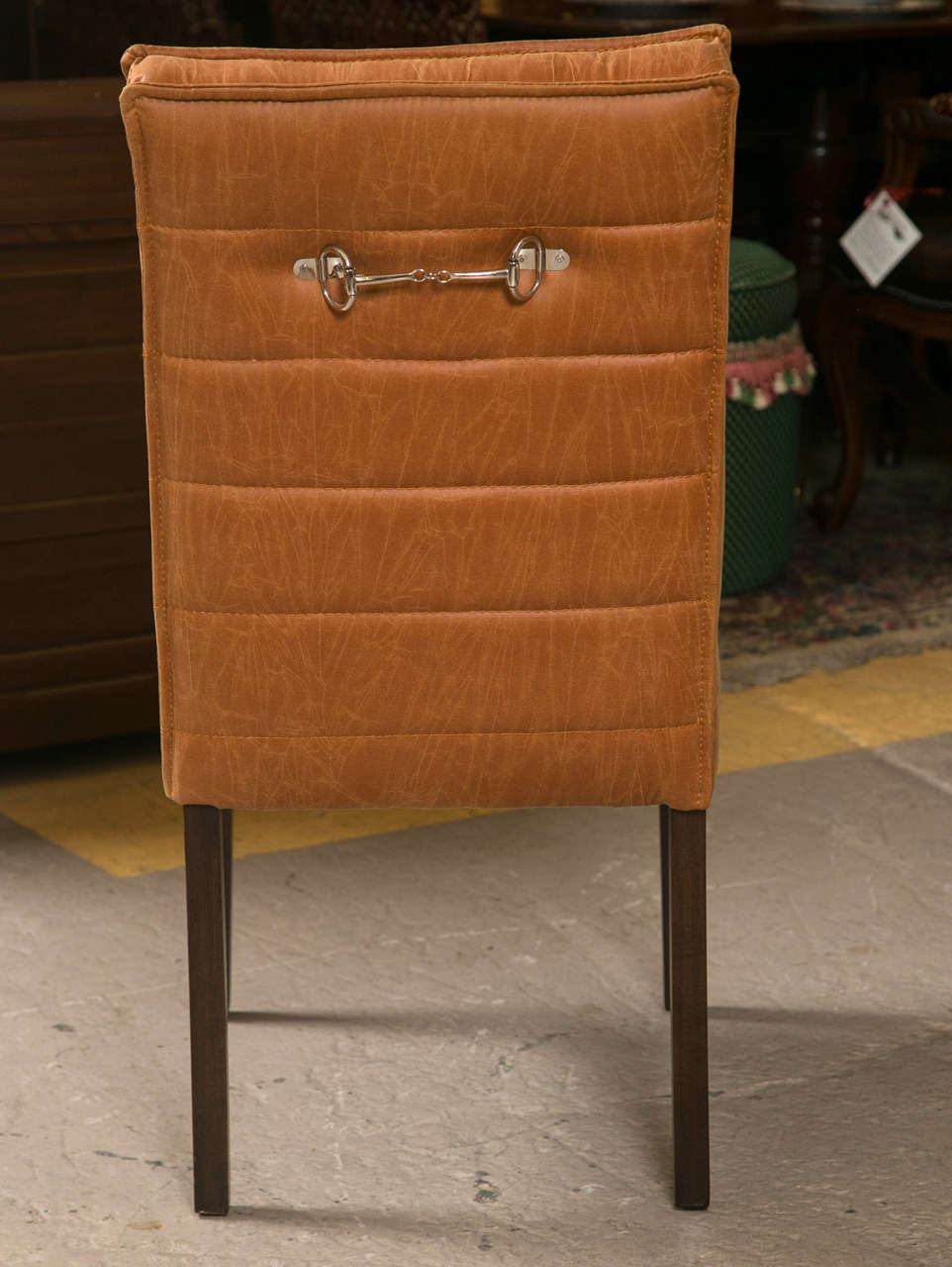 Fabric Pair of Hollywood Regency Style Leather And Mahogany Side Chairs For Sale