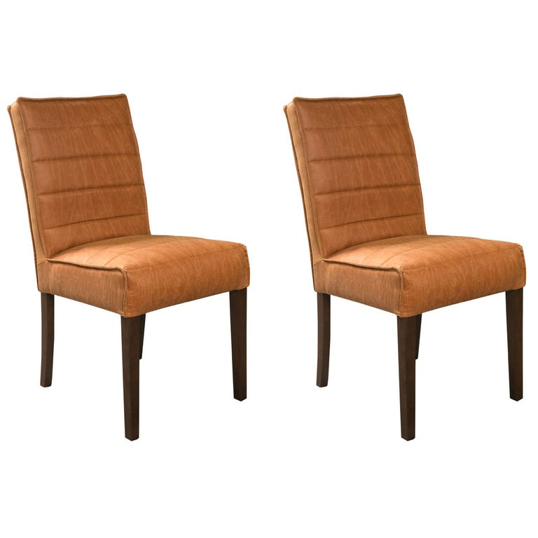 Pair of Hollywood Regency Style Leather And Mahogany Side Chairs For Sale