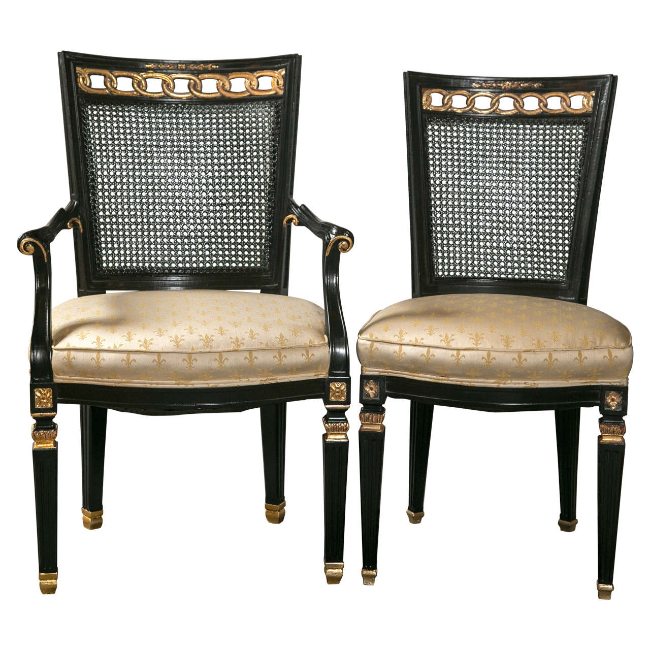 Set Of Eight Dining Chairs In The Manner Of Maison Jansen At 1stdibs