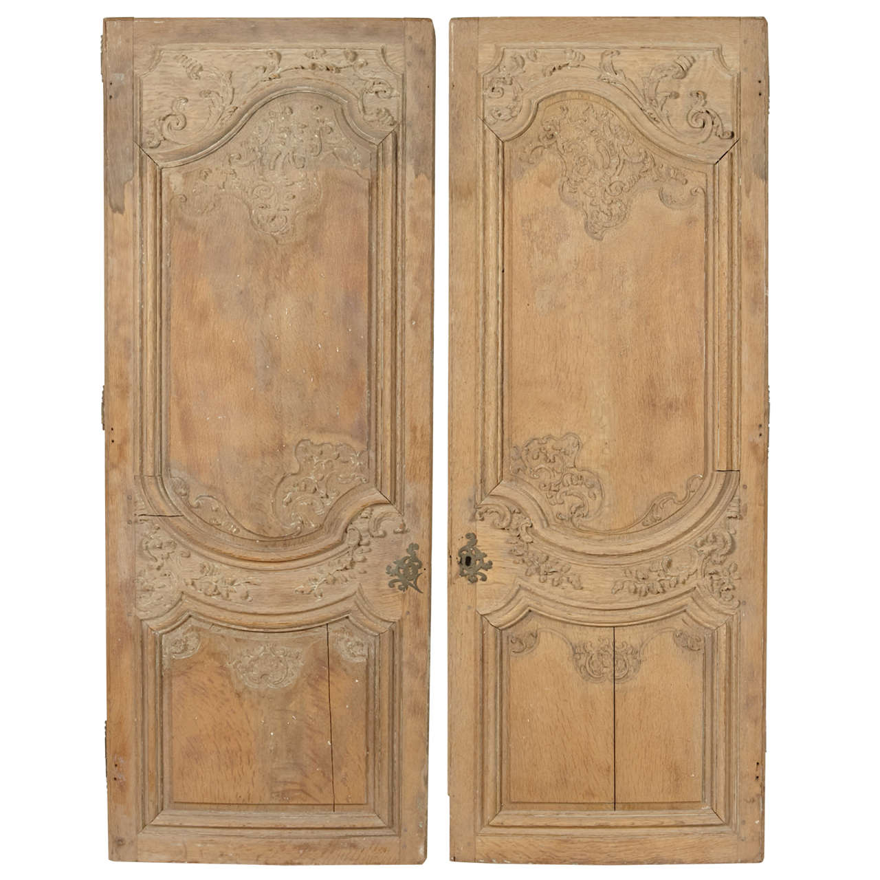 Pair of French Regence Period Stripped Armoire Doors 1