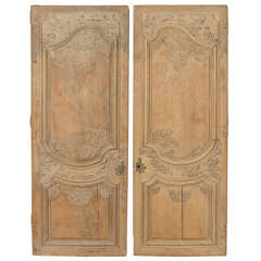 Pair of French Regence Period Stripped Armoire Doors