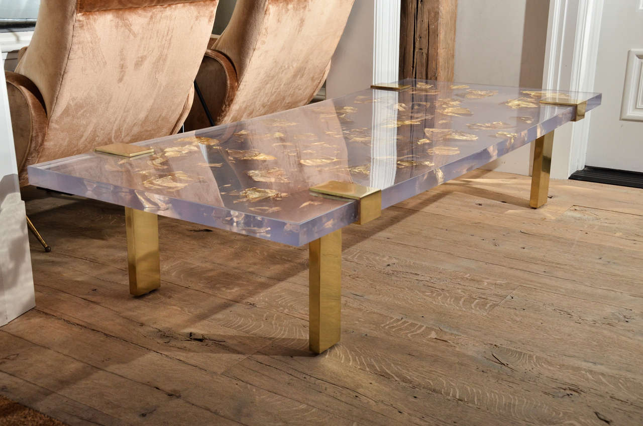 Contemporary Gold Leaf Inlay Coffee Table With Brass Frame 2