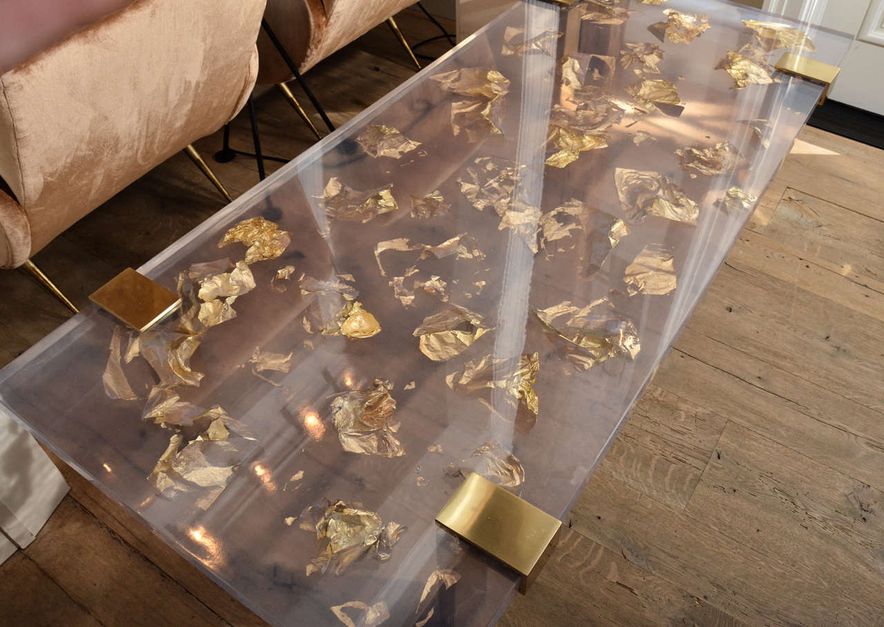 American Contemporary Gold Leaf Inlay Coffee Table With Br Frame For