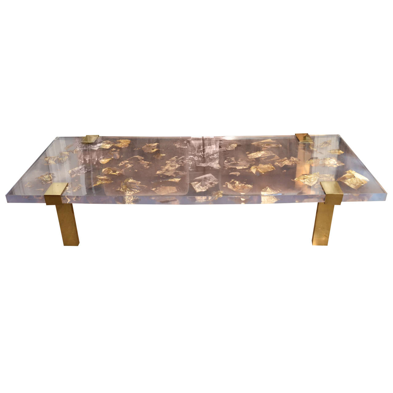 Merveilleux Contemporary Gold Leaf Inlay Coffee Table With Brass Frame For Sale