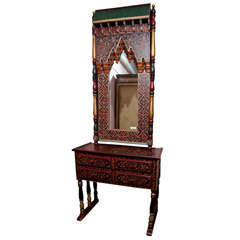 Indian Folk Art Style Mirror with Matching Console