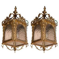 One Or Pair Of Gilt Bronze Lanterns
