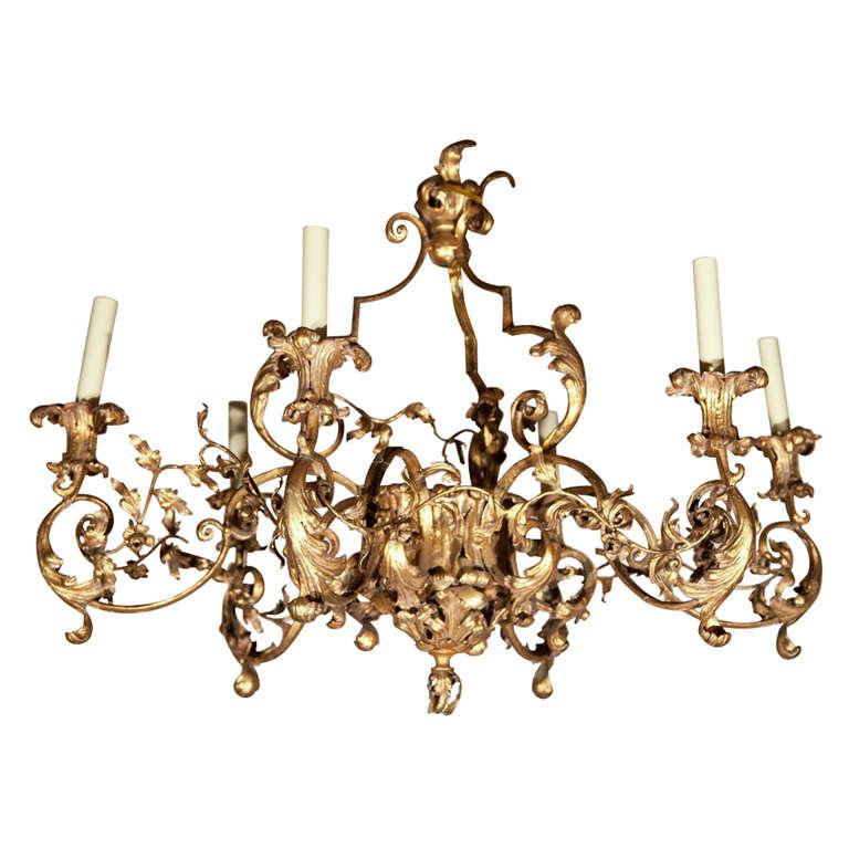 Gilt Bronze  6 Light Chandelier