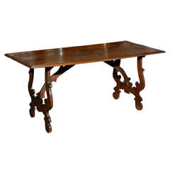 Exquisite Italian Early 19th Century Walnut Trestle Table with Lyre Shaped Legs