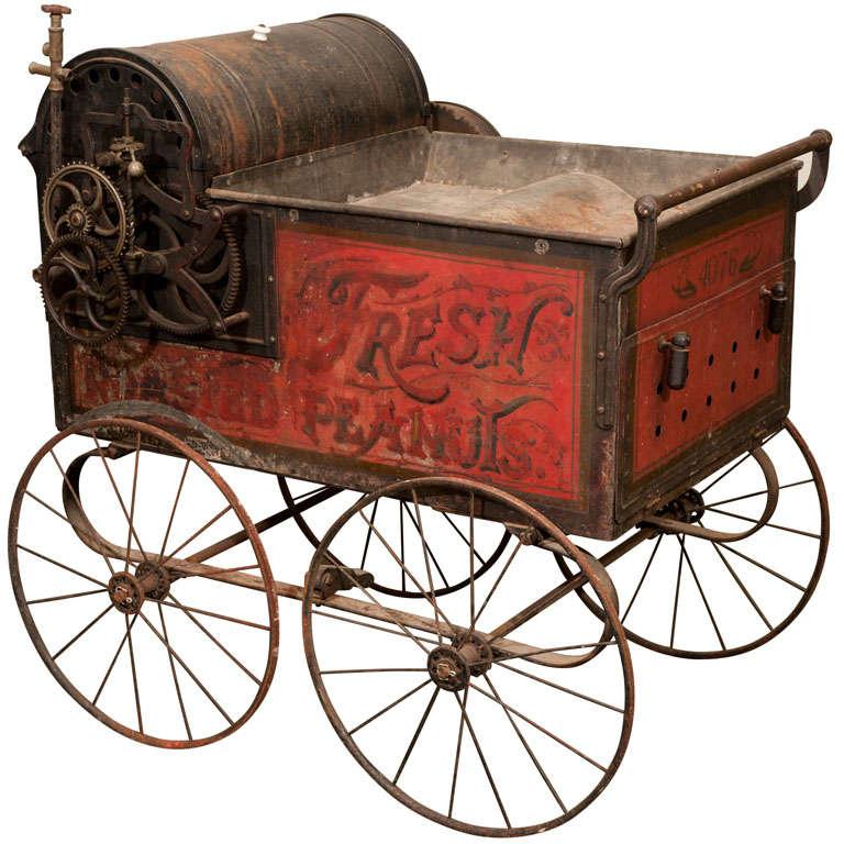 Victorian Hand Painted Peanut Roasting Vending Wagon At