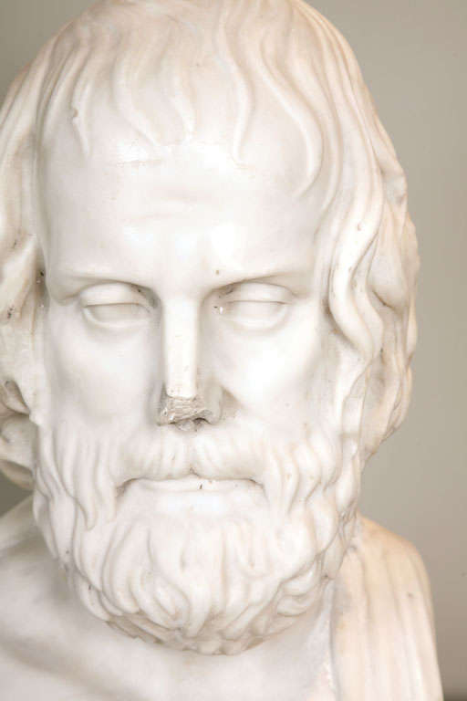 Early 19th Century Continental Carved Marble Bust of Euripides 3