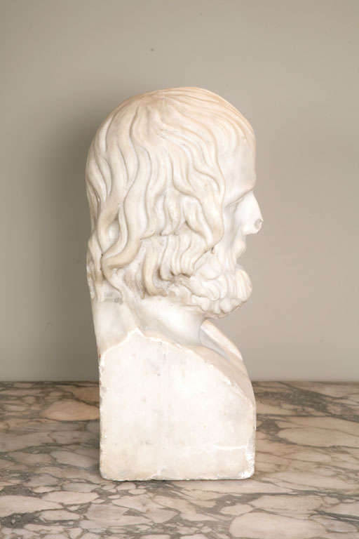 Early 19th Century Continental Carved Marble Bust of Euripides 2