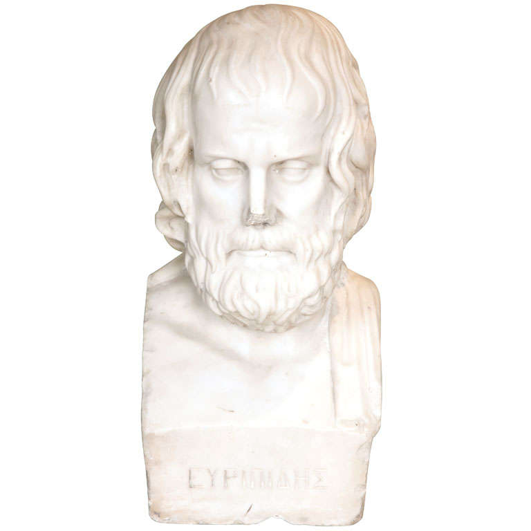 Early 19th Century Continental Carved Marble Bust of Euripides