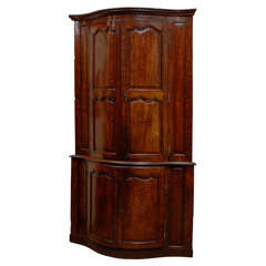 Large Fine 18th Century Louis XV Serpentine Corner Cabinet