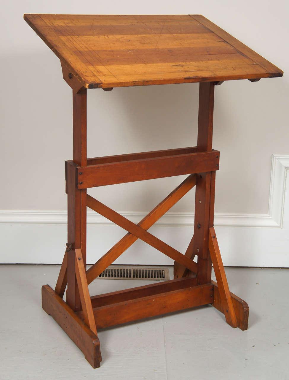 1940u0027s Industrial Wood Drafting Table 2