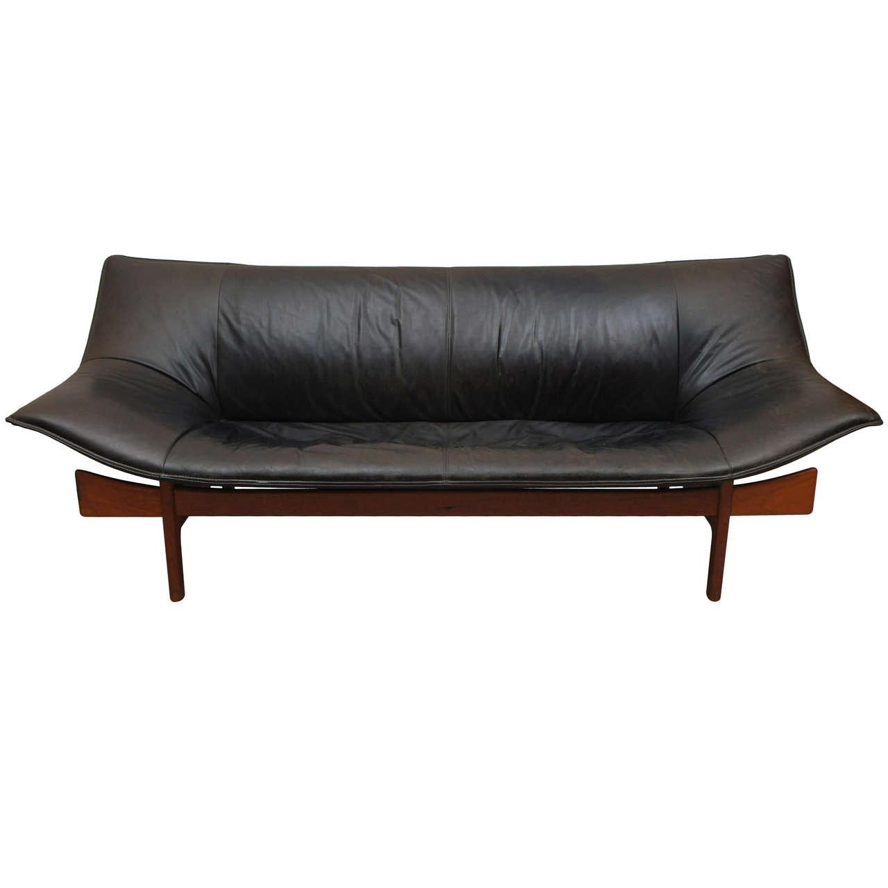 Mid Century Danish Leather Loveseat At 1stdibs