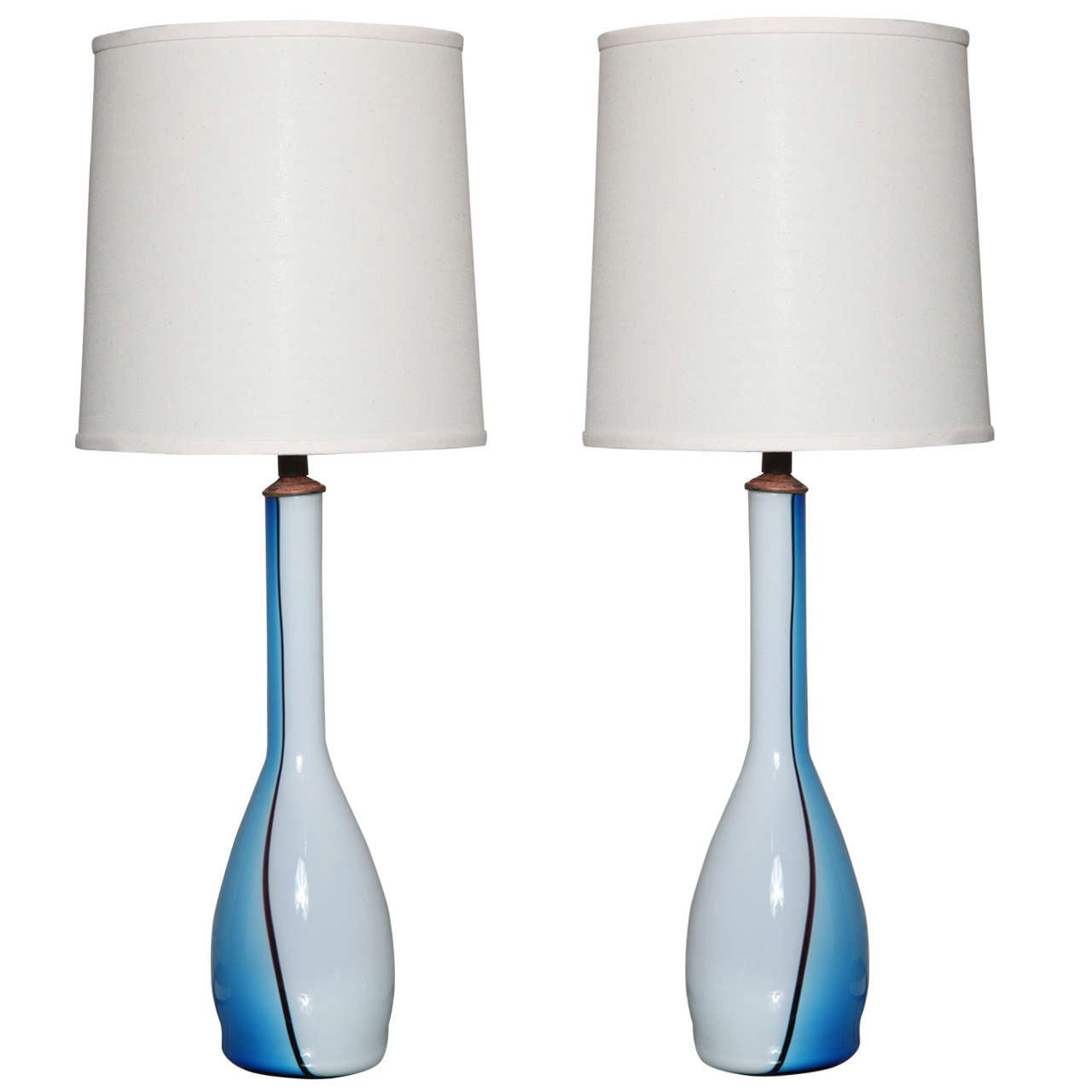 pair of turquoise and white murano glass table lamps at 1stdibs. Black Bedroom Furniture Sets. Home Design Ideas