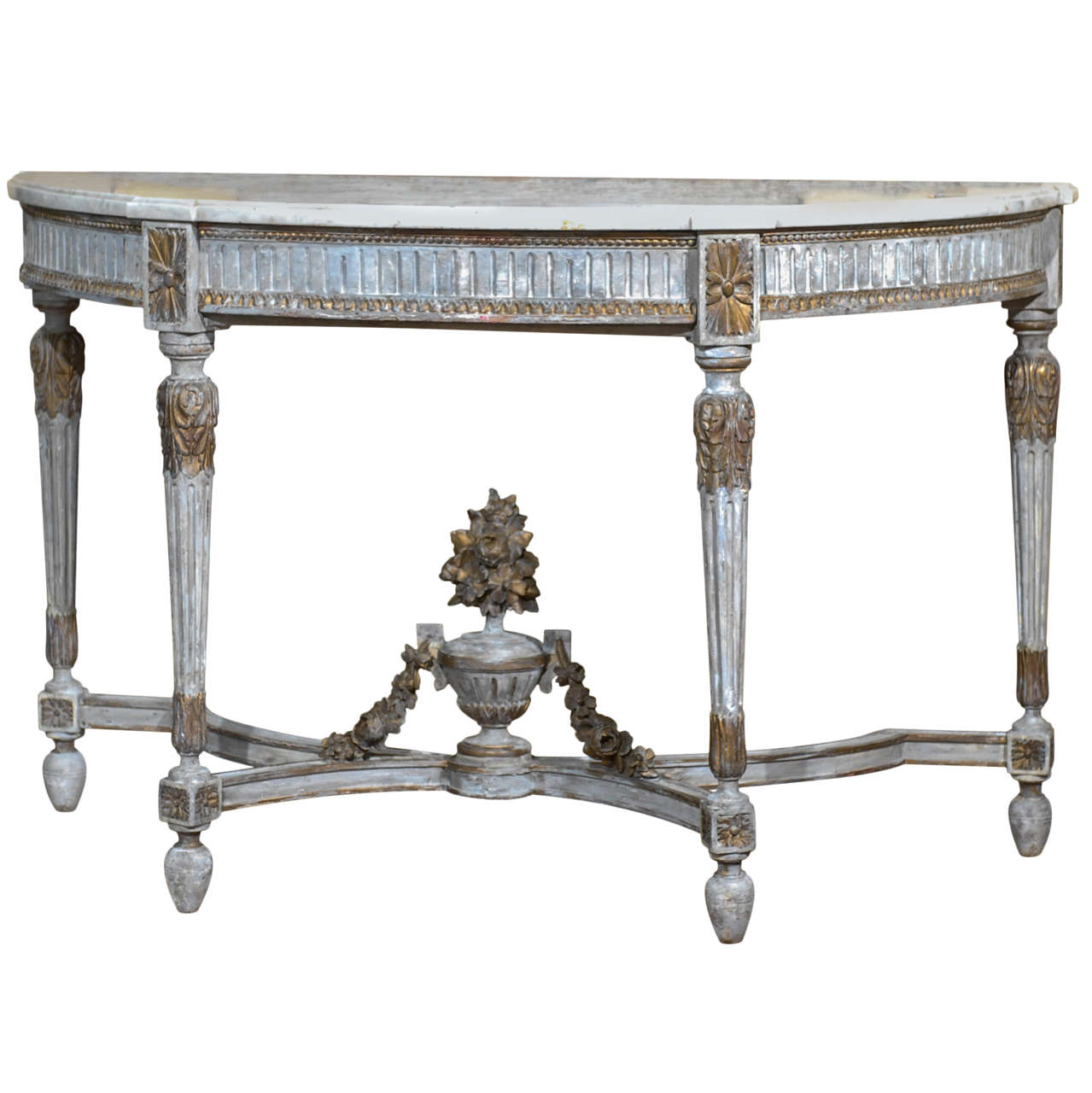 French demilune console with marble top and drawer at 1stdibs for Demilune console table with drawers