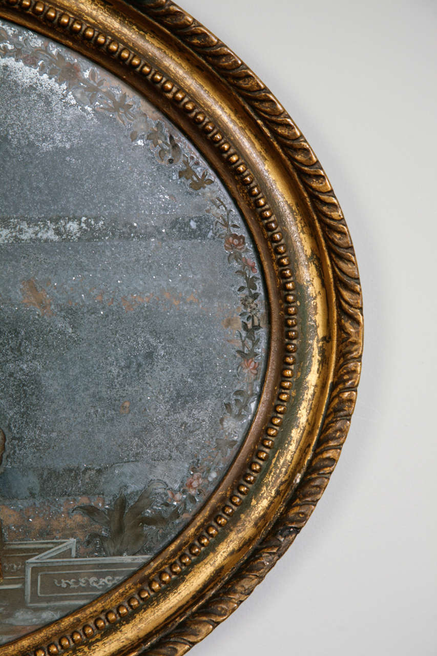 18th Century Oval Chinese Export Mirror Painting 4