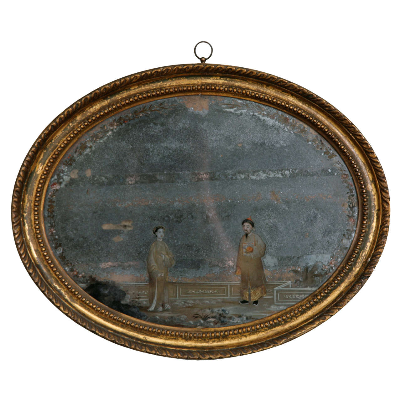 18th Century Oval Chinese Export Mirror Painting 1