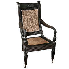 Unusual 19th Century Anglo Indian Ebony Elbow Chair
