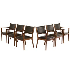 Ole Wansher Elegant Set of Six 'PJ 412' Dining Chairs