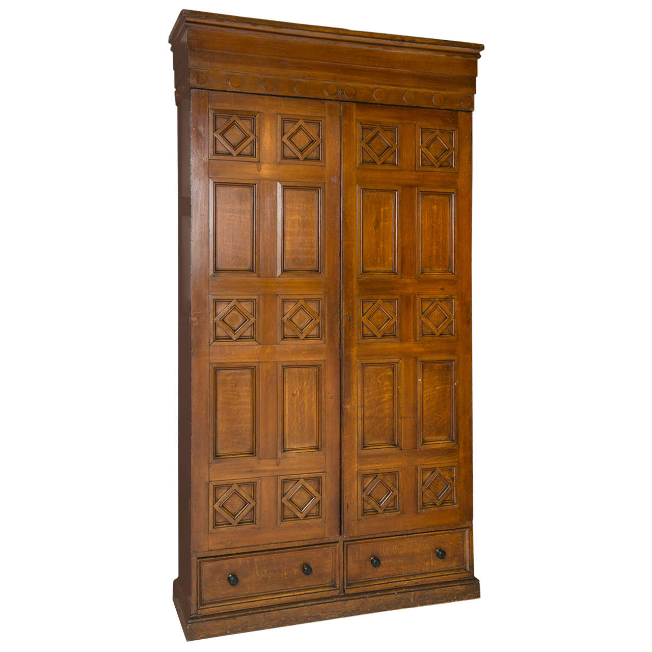 large wood grain painted pine armoire at 1stdibs. Black Bedroom Furniture Sets. Home Design Ideas