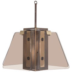 1970s Smoked Glass and Brass Fixture