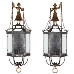 Pair of Fantastic Figural Carriage Lanterns