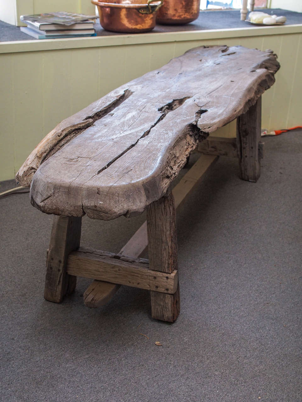 Weathered Wood Plank Italian Coffee Table Or Bench At 1stdibs
