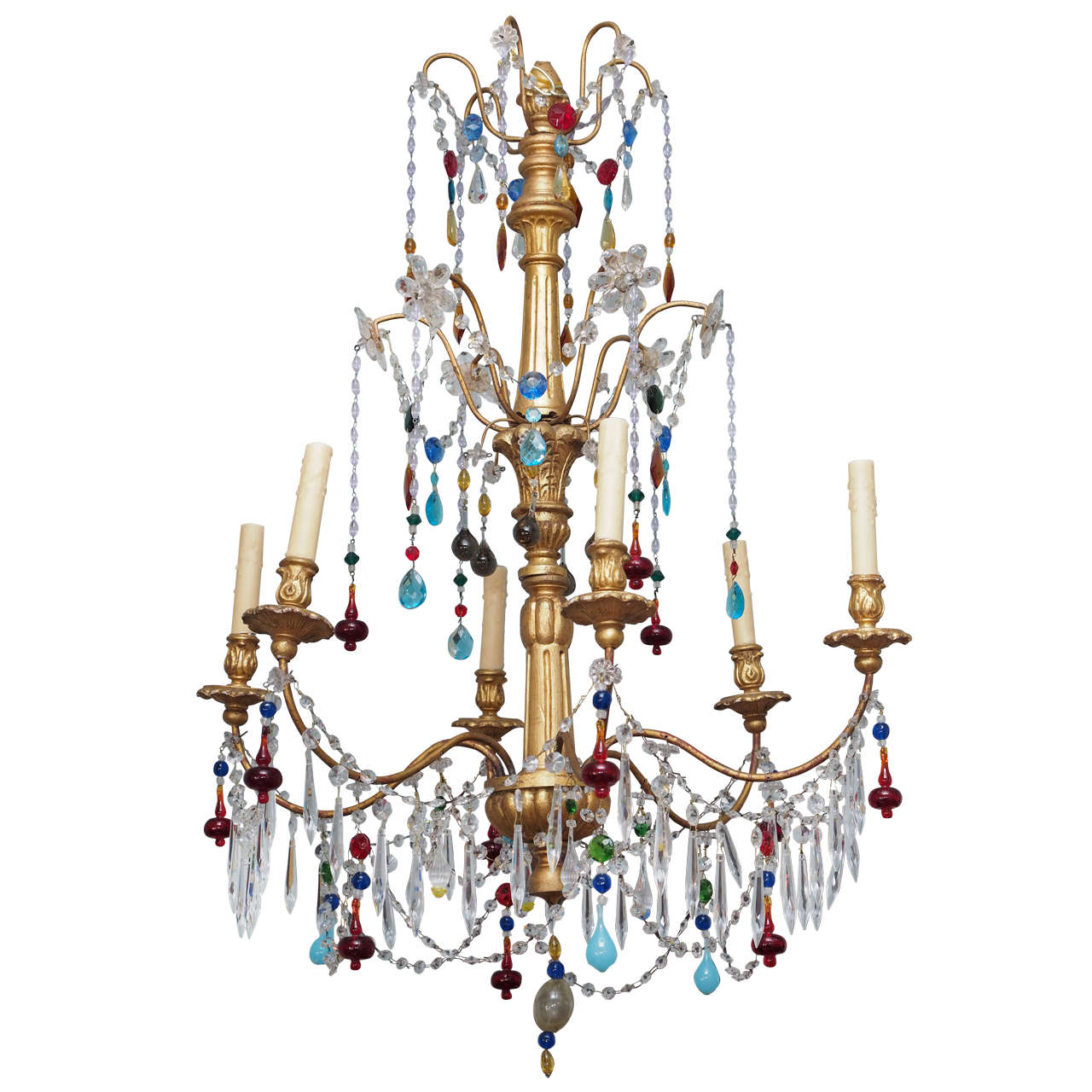 genovese chandelier with colored murano glass circa 1920